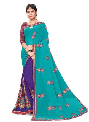 Gorgeous Multi Color Bemberg Saree With Blouse