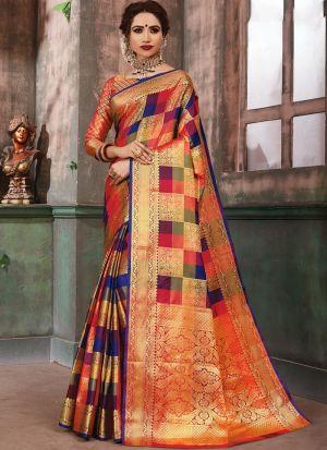 Gorgeous Multi Color Designer Banarasi Pure Silk Saree