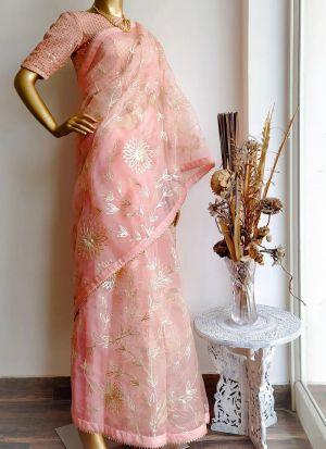 Gorgeous Peach Ribbon Work Organza Party Wear Saree