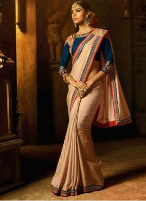 Gorgeous Sana Silk Cream Saree
