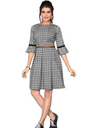 Gorgeous South Chex Cotton Flaried Grey Colour Knee Length Dress