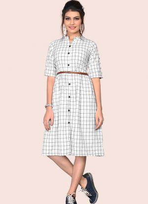 Gorgeous South Chex Cotton Flaried White Colour Knee Length Dress