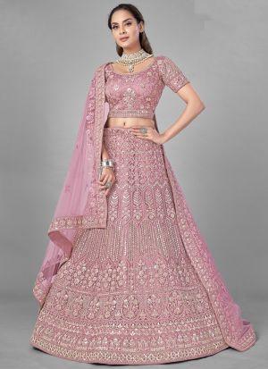 Gota Work Pastel Pink Lehenga Choli