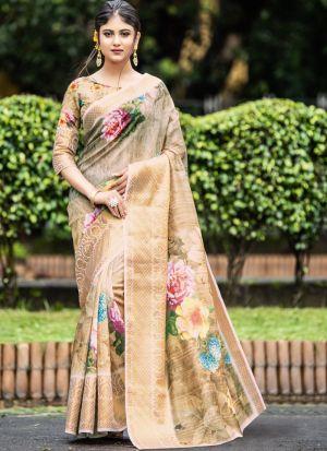 Graceful Beige Indian Wear Digital Printed Saree