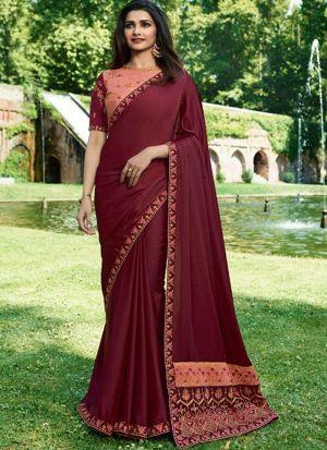 Graceful Burgundy Maroon Sana Silk Saree
