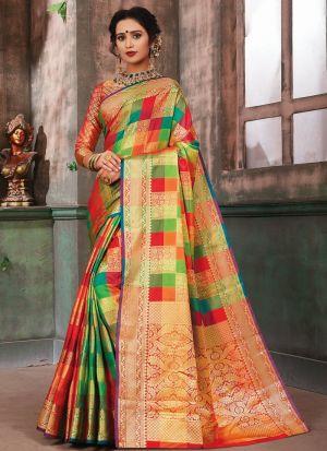 Graceful Multi Color Banarasi Pure Silk Saree