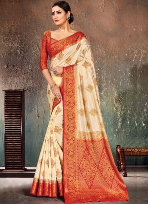 Graceful Naylon Silk Red Occasion Wear Saree