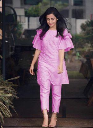 Graceful Pink Cotton Pant Style Salwar Suit