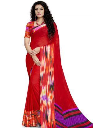 Graceful Red Festive Wear Georgette Saree