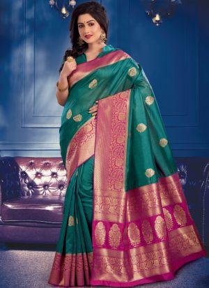 Green Banarasi Crystal Silk Saree Special Wedding Edition