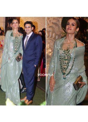Green Color Bollywood Designer Saree