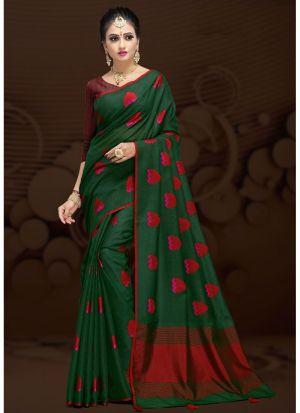 Green Cotton Silk Fancy Designer Traditional Saree