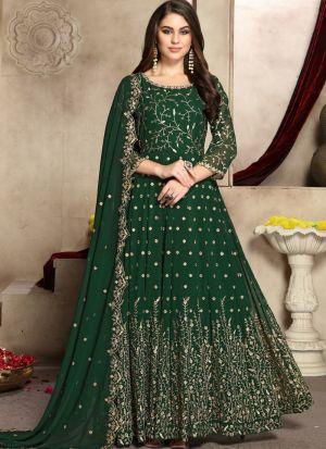 Green Georgette Designer Anarkali Suit