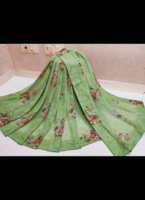 Green Georgette Embroidery Work Saree