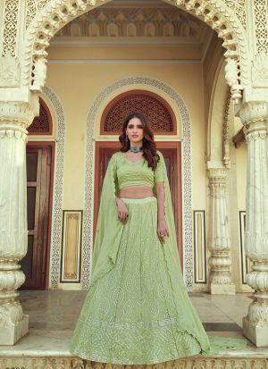 Green Georgette Thread Work Lehenga
