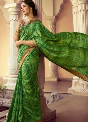 Green Kanjivaram Silk Printed Stylish Saree
