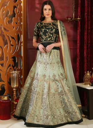 Green Latest Indian Designer Lehenga Choli For Engagement Party