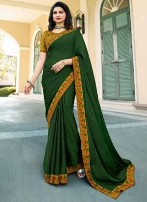 Green Printed Vichitra Silk Designer Saree