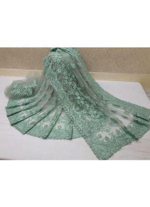 Green Soft Net Heavy Embroidery Saree