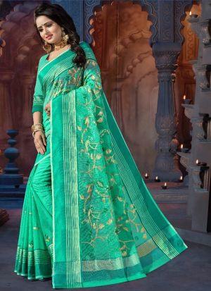 Green Supernet Festive Wear Saree