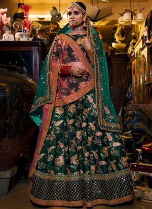 Green Tafetta Silk Lehenga Choli Designer Collection