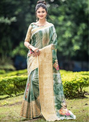 Green Trendy Casual Wear Digital Printed Saree