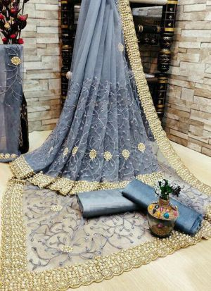 Grey Banglori Silk Diamond Work Saree