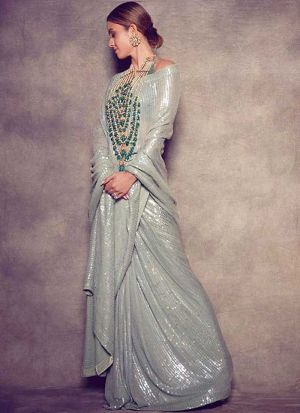 Grey Color Bollywood Designer Saree