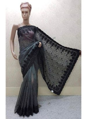 Grey Color New Launching Heavy Net Saree Collection