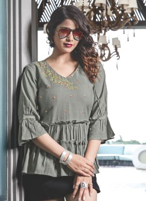 Grey Colour Ethnic Top With Beautiful Embroidery
