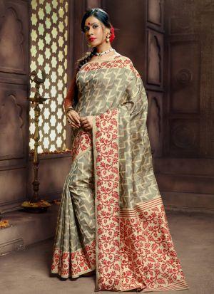 Grey Designer Pure Banarasi Silk Saree Collection