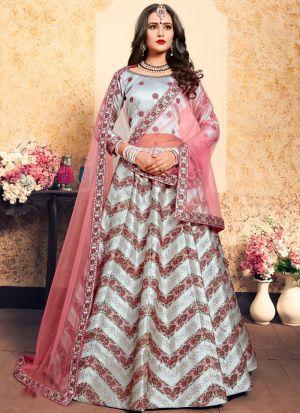 Grey Embroidered Designer Bridal Lehenga Choli