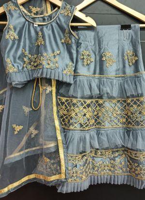 Grey Embroidered Stylish Net Frill Girls Lehenga Choli