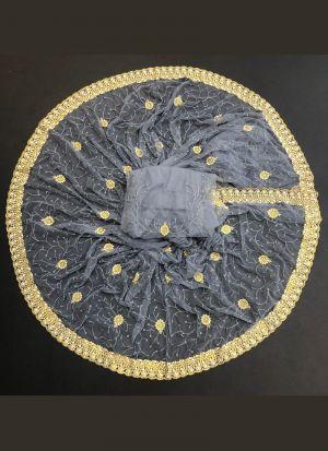 Grey Embroidery Work Saree