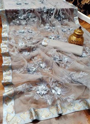 Grey Fancy Embroidery Work Saree