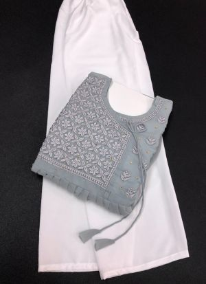 Grey Georgette Suit With Pant