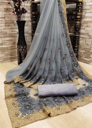 Grey Heavy Nylon Mono Net Saree