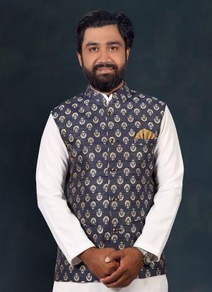 Grey Jacquard Printed Koti For Men