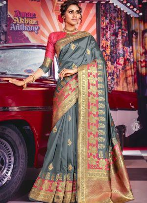 Grey Jacquard Silk Festive Wear Traditional Saree