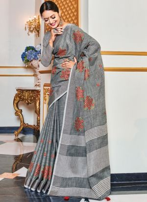Grey Linen Embroidery Work Saree