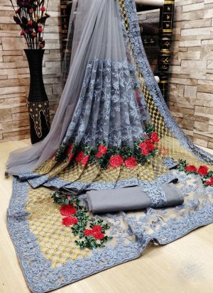 Grey Net Saree With Flower Embroidery