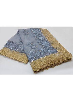 Grey Pandadi Shining Stone Moti Work Soft Net Wedding Designer Saree