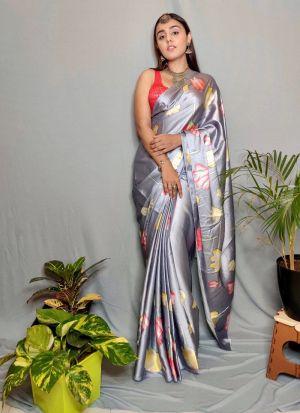 Grey Satin Silk Designer Look Saree