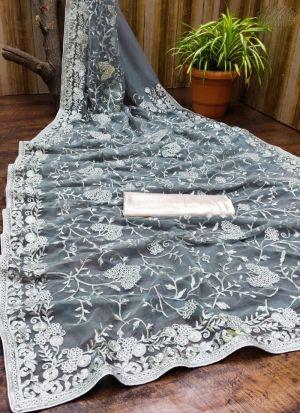 Grey Soft Net Piping Work Saree