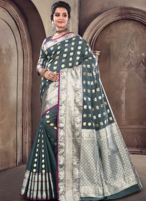 Grey Soft Silk Designer Traditional Saree For Wedding
