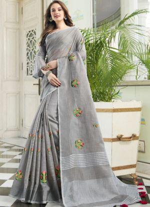 Grey South Indian Linen Cotton Designer Saree