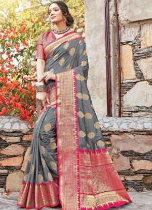 Grey Traditional South Indian Wedding Dola Silk Saree
