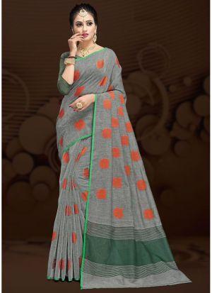 Grey Traditional Wear Saree In Cotton Silk Fabric