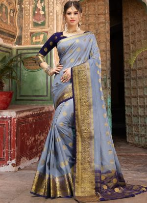 Grey Trendy Naylon Silk Saree For Engagement