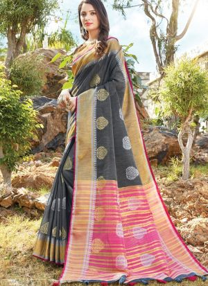Grey Women Wedding And Partywear Linen Cotton Saree